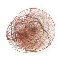 Vintage Wire Mesh Hanging Baskets // copper colored metal // 3 tiers baskets