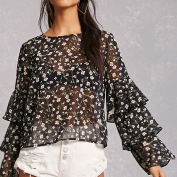 Semi-Sheer Floral Top