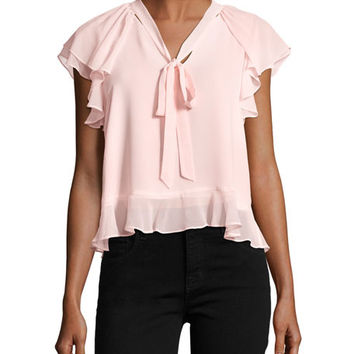 Rebecca Minkoff Ronnie Tie-Neck Ruffled Chiffon Blouse