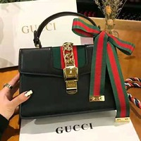 GUCCI High Quality Classic Trending Women Stylish Leather Stripe Handbag Tote Shoulder Bag Crossbody Satchel Black