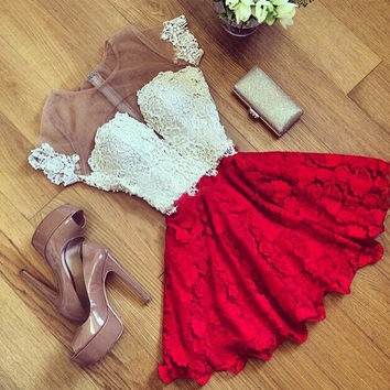 Sexy Red Lace Stitching Perspective Backless Short Dress