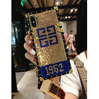 Givenchy YSL FENDI LV Supreme Stylish Personality Chic Sequins Soft Phone Cover Case For iphone 6 6s 6plus 6s-plus 7 7plus iPhone 8 8 Plus iPhone X +Hang Rope Wristbands(4-Style) Gold/Blue I13800-1