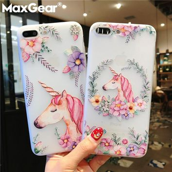 MaxGear Unicorn Flower Paint Case For iPhone 7 Plus Clear Phone 64dc9b4008