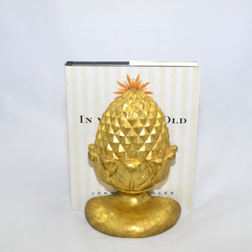 Pineapple Decor Pineapple Home Decor Pineapple Bookends Gold Gilded Pineapple Acorn Bookends Vintage Bookends