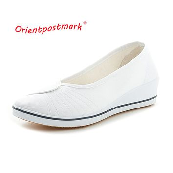 New Wedges Women Nurse Shoes Ladies Shoes Womens Wedges Loafers Shoes For Women Soft Sole Fashion Brand Plus Size OrientPostMark