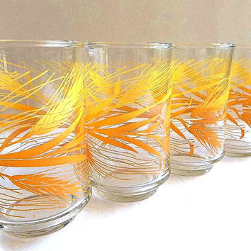 Vintage Libbey Golden Wheat pattern set of FOUR juice glasses tumblers Retro Mid Century glassware