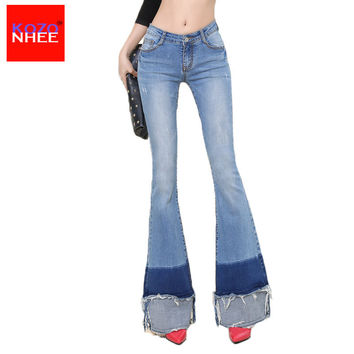 Elastic Ripped Women Flare Jeans Long Bell-Bottoms Jeans Stretching For Girls Trousers for women Jeans Large Size