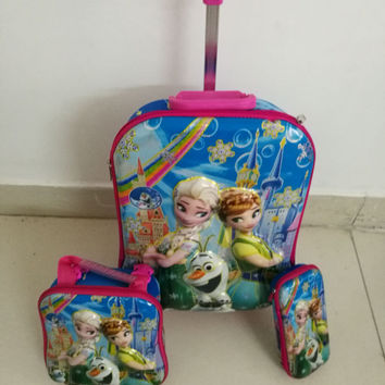 Free shipping travel suitcase sets 6D Anna&Elsa castle fashion luggage (lunch box + pen boxes+trolley luggage ) kids luggage