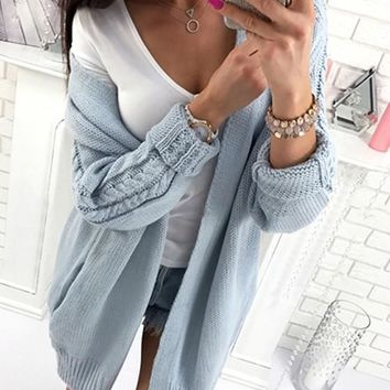Blue Pockets Long Sleeve Casual Acrylic Cardigan Sweater