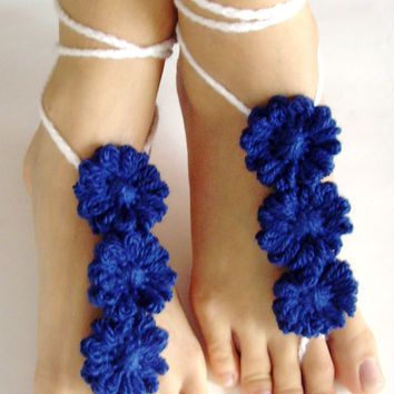BAREFOOT SANDALS, Crochet Blue Flowers, Chic Nude Summer Shoes, Foot Jewelry, Hippie Sandals Beach
