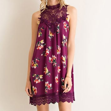 Martinis and Moonlight Lace Sleeveless Dress - Floral Plum