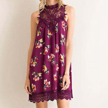 Martinis and Moonlight Lace Sleeveless Dress - Floral Plum -Ships Wednesday 9/7
