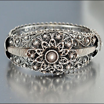 Antique Victorian Bracelet Bangle Silver Filigree Wide Floral Italian Vintage Jewelry Cannetille
