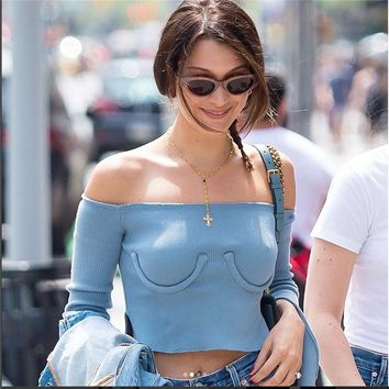 Off Shoulder T Shirt  Open Split Long Sleeve Blue Crop Top