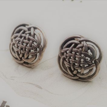 Celtic endless knot sterling silver signed vintage earrings