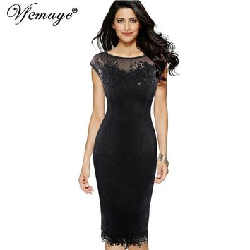 Vfemage Womens Sexy Sequins Crochet Butterfly Lace Party Bodycon Evening Mother of Bride Special Occasion Dress 3998