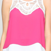 Colorblock Chiffon Top