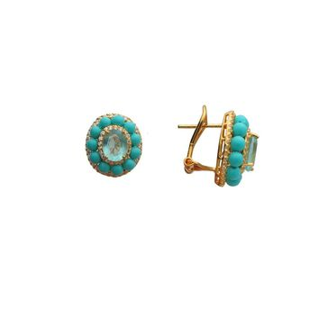 Ocean Drive Turquoise & Paraiba CZ Omega Clip Earrings in Gold Plated Silver