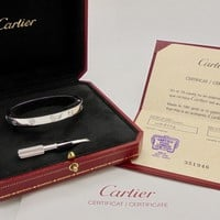 Authentic Cartier Love Bracelet in 18k White Gold with Certificate RRP$9,450