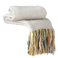 Fab Ivory Fringe Throw Blanket