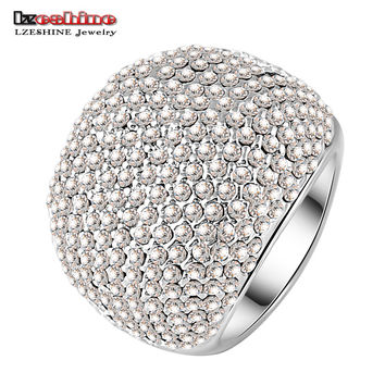 LZESHINE Brand Hot Sale Full Clear Drilling Ring Platinum Plated Noble Rings for Ladies Party anillos Ri-HQ0043