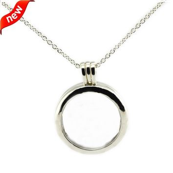 CKK Genuine 925 Sterling Silver Necklace Medium Size Floating Locket Silver Pendant Necklace 60cm Link Chain Fit Petites Beads