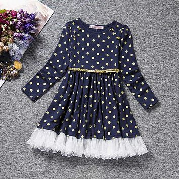 Girls Dress Fall Cotton Long Sleeve Clothes Princess Children Holiday Party Dresses Polka Dot Toddler Girls Clothing