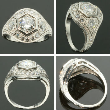 Art Deco platinum diamond ring 1920s jewelry