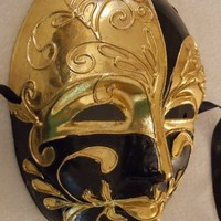Venetian Mask Black & Gold Mardi Masquerade Halloween Costume