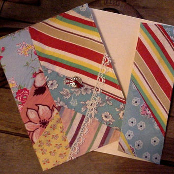 Quilt Top Greeting Card Everyday Note Card Upcycled Vintage Shabby Feedsack Fabric Stationery itsyourcountry
