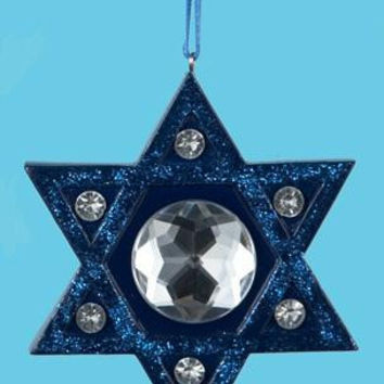Star Of David Hanukkah Ornament - Blue Glitter And Rhinestones