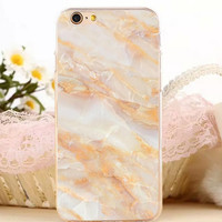 Light Ornage Marble Stone iPhone 7 7 Plus iPhone se 5s 6 6s Plus Case Cover + Gift Box