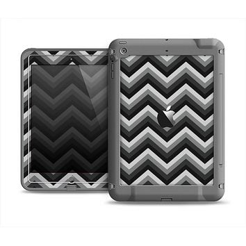 The Gray Toned Layered CHevron Pattern Apple iPad Air LifeProof Fre Case Skin Set
