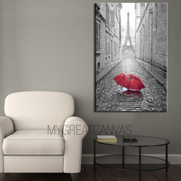 Paris Street and Red Umbrellas - Canvas Art Printing - Canvas Print | Art Canvas Print | France Canvas Painting
