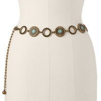 SONOMA life + style Floral Turquoise Chain Belt, Size: