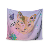 "Vasare Nar ""Psychedelic Cat"" Pastel Lavender Wall Tapestry"