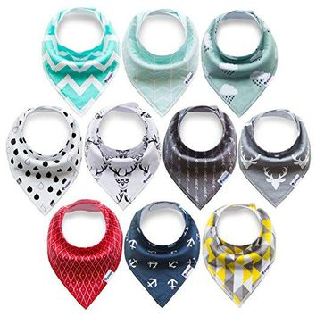 10-Pack Super Absorbent Organic Cotton Bandana Bibs Baby Drool Bibs for Drooling and Teething