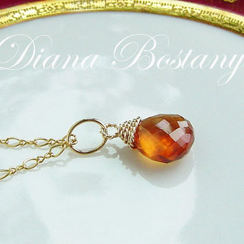 Mandarin Garnet Necklace . 14K Gold . Twist Wire Wrapped Briolette . Gemstone Charm Pendant Necklace