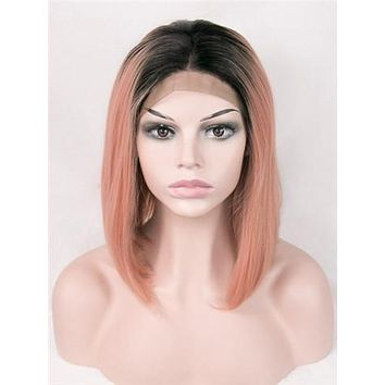 Short Light Erythrina Peach Ombre Synthetic Lace Front Wig
