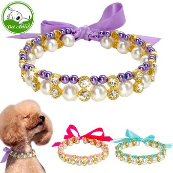 2 Row Fashion Pearl Puppy Dog Necklace Jeweled Rhinestone Cat Collar Crystal Diamante Charm Pet Accessory With Bow Tie Pink