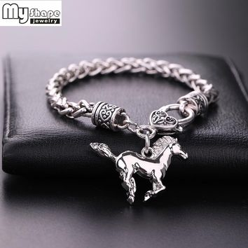 My Shape Silver Plated Fashion Thick Charm & Wheat Chain Bracelet Trendy Men Bracelets Bangle Horse Pendants Women Jewelry