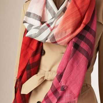 onetow One-nice? #4 BURBERRY CORAL OMBRE CHECK WOOL & SILK EXTRA LONG SCARF 100% AUTHENTIC