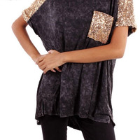 Sequin Blouse in Black