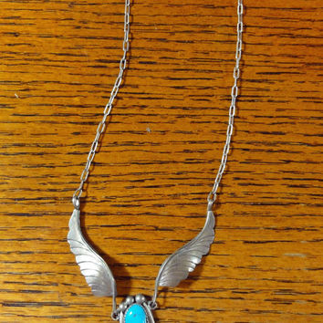 Vintage Y Necklace Native American Turquoise Feather Pendant Sterling Silver Southwestern