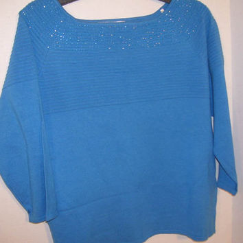 Peter Nygard Fancy Sweater Size L  Day to Evening Vivid Blue With Neckline Blue Bugle Beaded Accents Retro  Mad Men