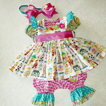 Girls Dress Bloomers Candy Shop Birthday Picture Prop Toddler Baby Infant Party Chevron Cottage Chic Childs Outfit by MYSWEETCHICKAPEA