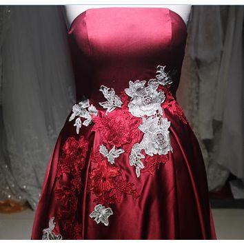 Elegant High Front Low Back Embroidered Flowers Prom Dresses 2017 Satin A-Line Special Occasion Gowns Formal Evening Dress