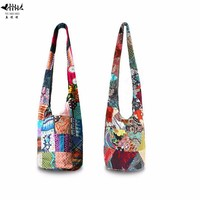 Unique Sling Crossbody Shoulder Messenger Bags Women Handbag Pure Bag Bohemian Thailand Handmade Patchwork Bags Cotton Canvas