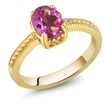 1.31 Ct Oval Pink Mystic Topaz White Diamond 18K Yellow Gold Plated Silver Ring