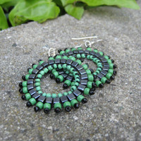 Playful Green and Black Earrings